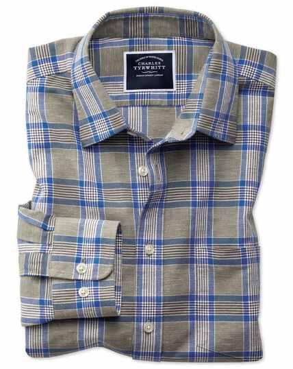 Slim fit khaki check cotton linen shirt