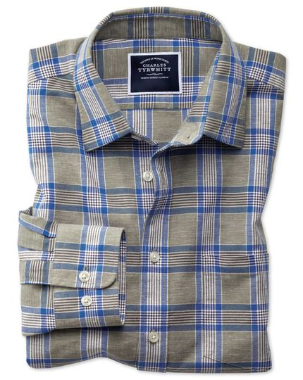 Slim fit cotton linen khaki check shirt