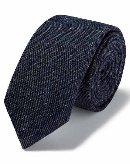 Navy wool silk Donegal slim tie