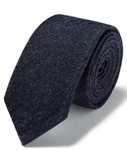 Navy wool silk Donegal slim tie