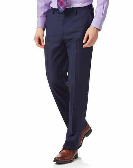 Blue classic fit twill stripe business suit pants