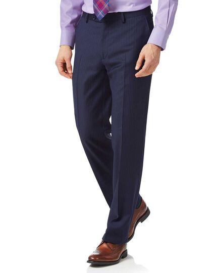 Pantalon de costume business bleu en twill coupe droite et rayures