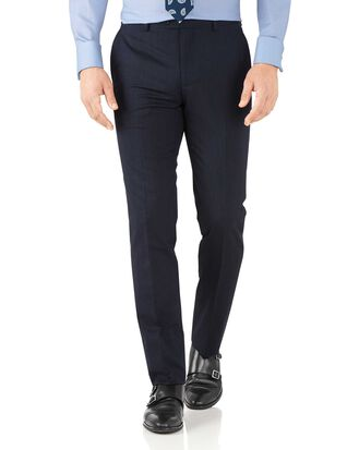 Navy slim fit hairline business suit trousers