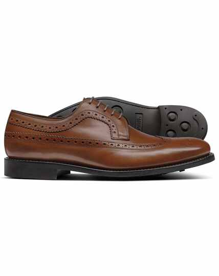 Chestnut Goodyear welted Derby wing tip brogue shoes