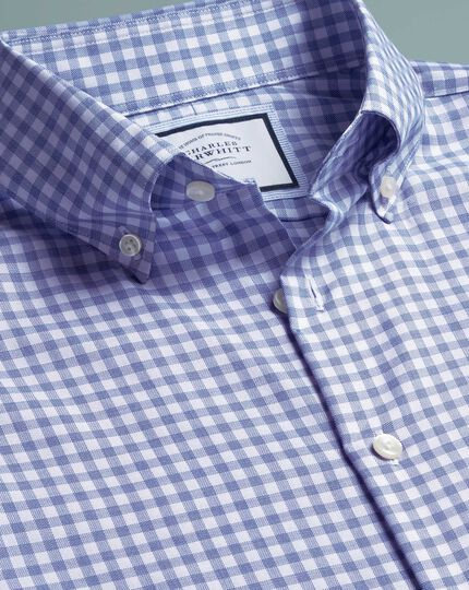 Extra slim fit business casual non-iron royal blue check shirt with TENCEL™