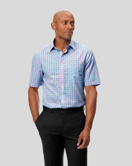 Classic Collar Non-Iron Tyrwhitt Cool Poplin Short Sleeve Check Shirt - Pink