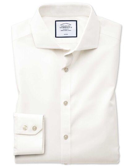 Extra slim fit spread collar non-iron poplin cream shirt