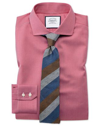 Slim fit spread collar non-iron puppytooth bright pink shirt