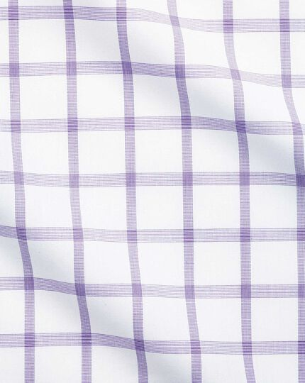 Slim fit semi-cutaway non-iron business casual purple check shirt