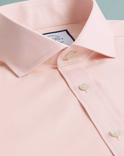 Slim fit non-iron Tyrwhitt Cool poplin peach shirt