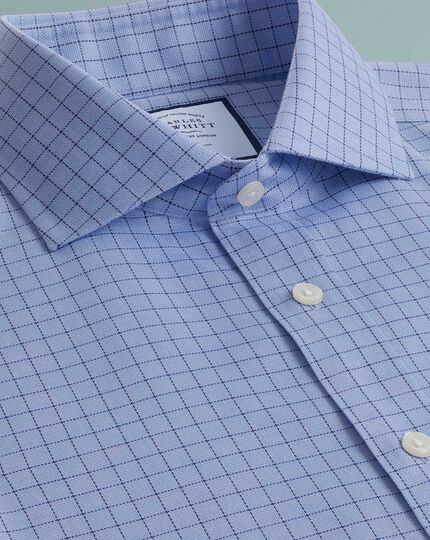 Chemise bleue en oxford de coton stretch extra slim fit sans repassage