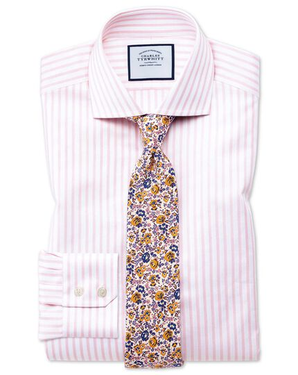 Slim fit cutaway textured stripe pink and white shirt