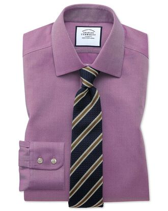 Classic fit non-iron berry arrow weave shirt
