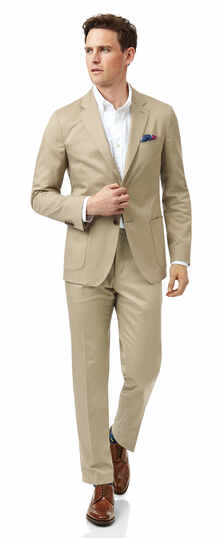 Costume beige en coton slim fit