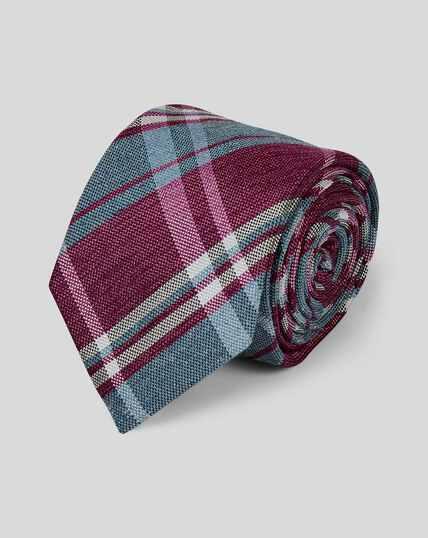 Klassische Krawatte aus Seide & Leinen mit Karos - Dunkelrosa