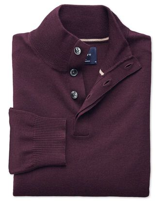 Wine merino wool button neck jumper