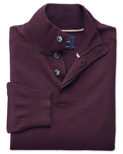 Wine merino wool button neck sweater