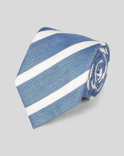 Krawatte aus Seide-Leinen mit Streifen - Blau & Weiß