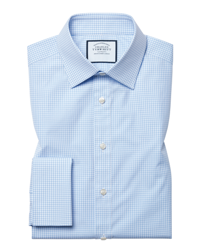 Slim fit small gingham sky blue shirt