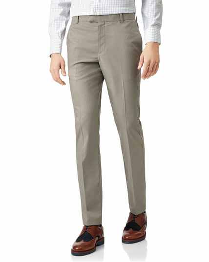 Stone non-iron stretch textured trousers