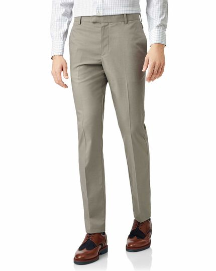Stone non-iron stretch textured pants