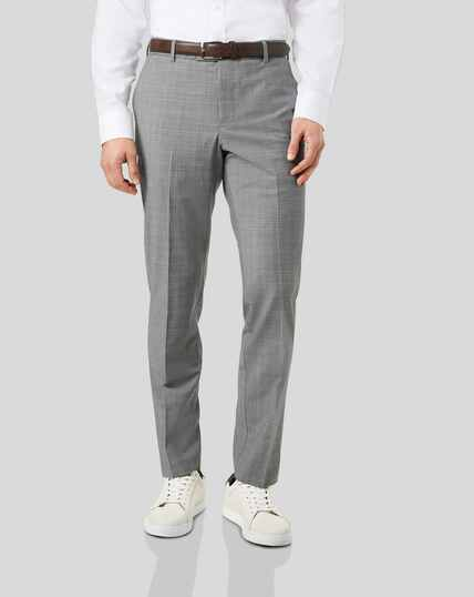 Wool Blend Stretch Check Trousers - Light Grey