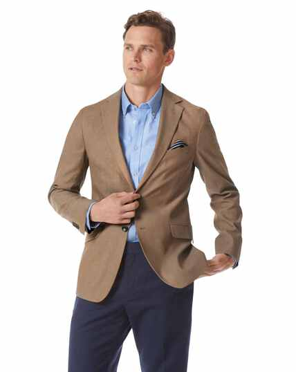 Slim fit tan textured stretch cotton jacket