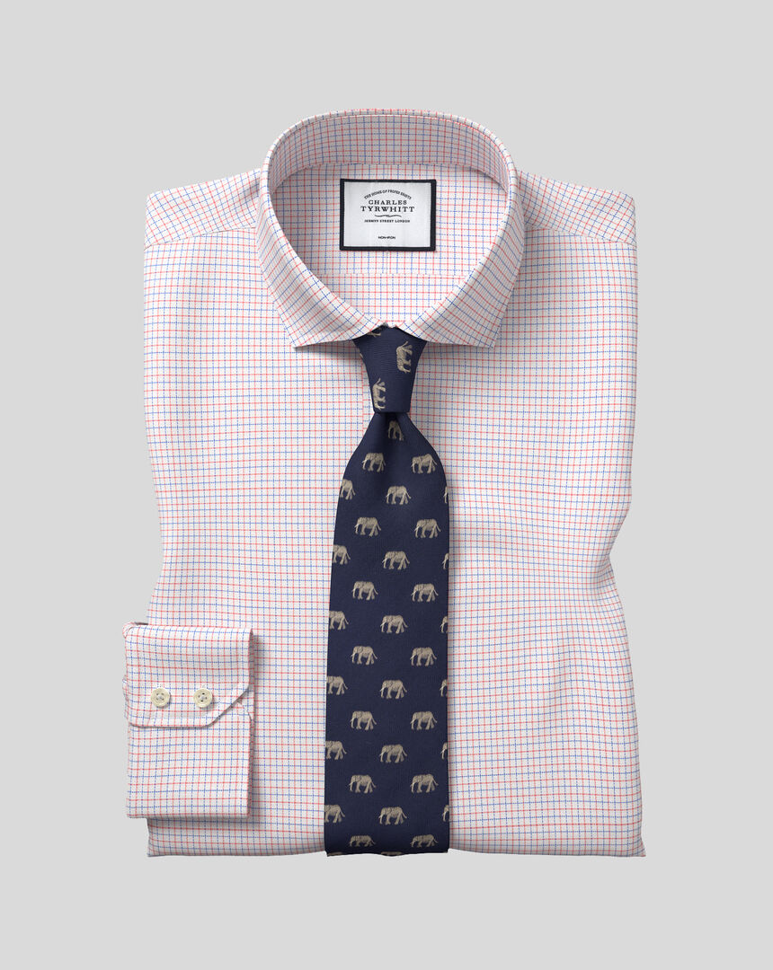 Cutaway Collar Non-Iron Cotton Stretch Check Shirt - Coral