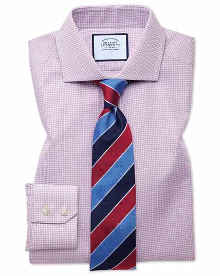 Extra slim fit spread collar textured puppytooth pink shirt