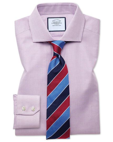 Extra slim fit cutaway textured puppytooth pink shirt
