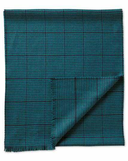 Schal aus Merinowolle in blaugrün mit Hahnentrittmuster