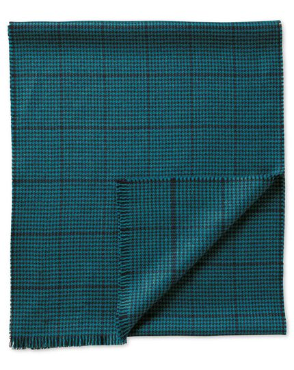 Teal dogstooth merino scarf