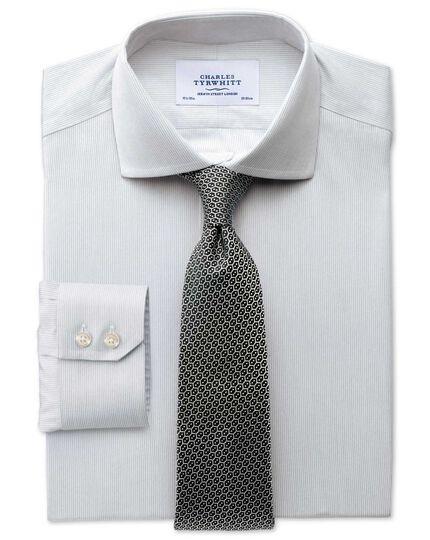 Slim fit spread collar non-iron mouline stripe grey shirt