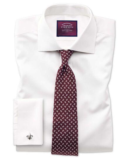 Slim fit semi-cutaway luxury cotton silk off-white shirt
