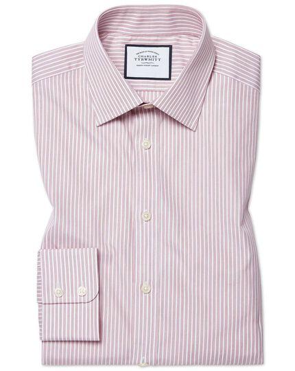 Classic fit poplin fine stripe pink shirt