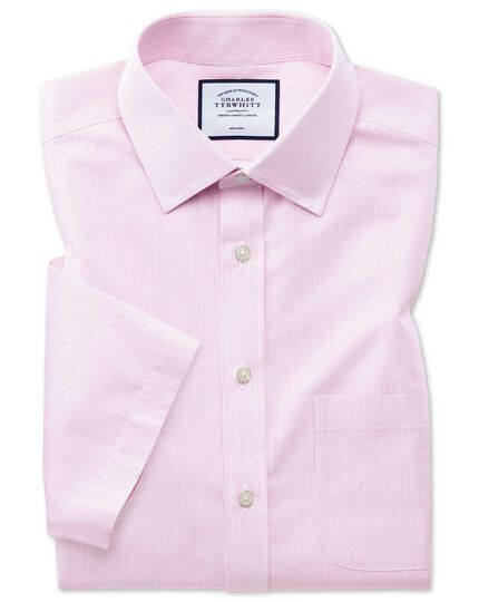 Non-Iron Tyrwhitt Cool Poplin Short Sleeve Stripe Shirt - Pink