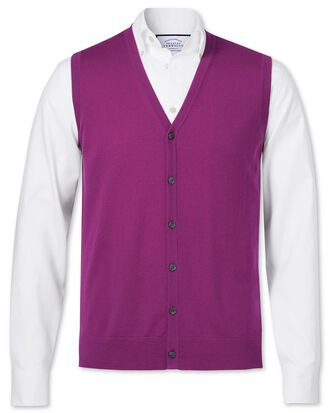 Berry merino wool vest