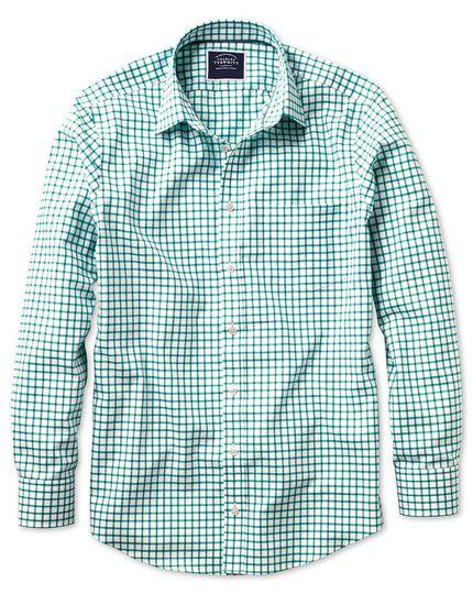 Bügelfreies Slim Fit Oxfordhemd mit Gitterkaros in Weiß und Grün