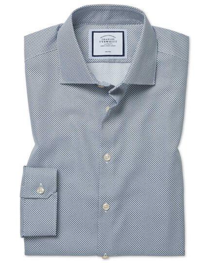 Bügelfreies Super Slim Fit Hemd mit Kreisen in Marineblau