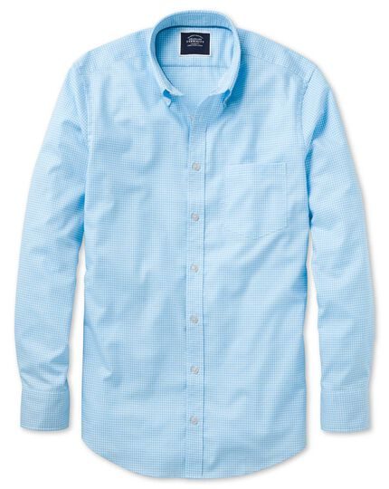 Classic fit sky blue gingham soft washed non-iron stretch shirt