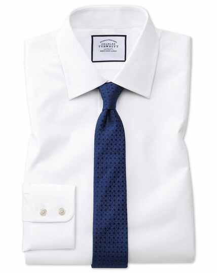 Extra slim fit white cube weave Egyptian cotton shirt