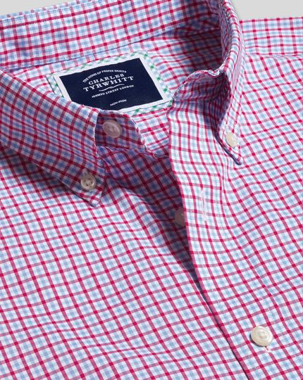 Button-Down Collar Non-Iron Stretch Oxford Gingham Shirt - Pink Multi