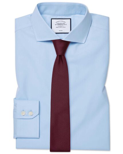 Extra slim fit sky blue non-iron twill spread collar shirt