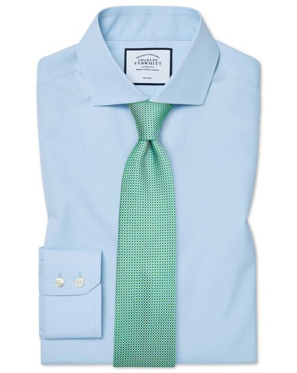 Extra slim fit cutaway non-iron natural cool sky blue shirt