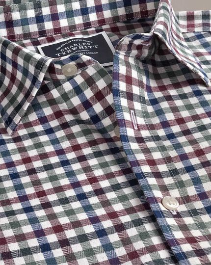 Classic fit brown multi block gingham brushed check shirt