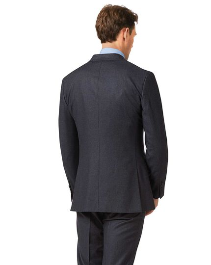 Charcoal and blue slim fit stripe flannel business suit jacket