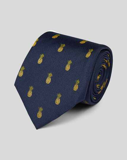 Pineapple Silk Motif Classic Tie - Navy & Gold