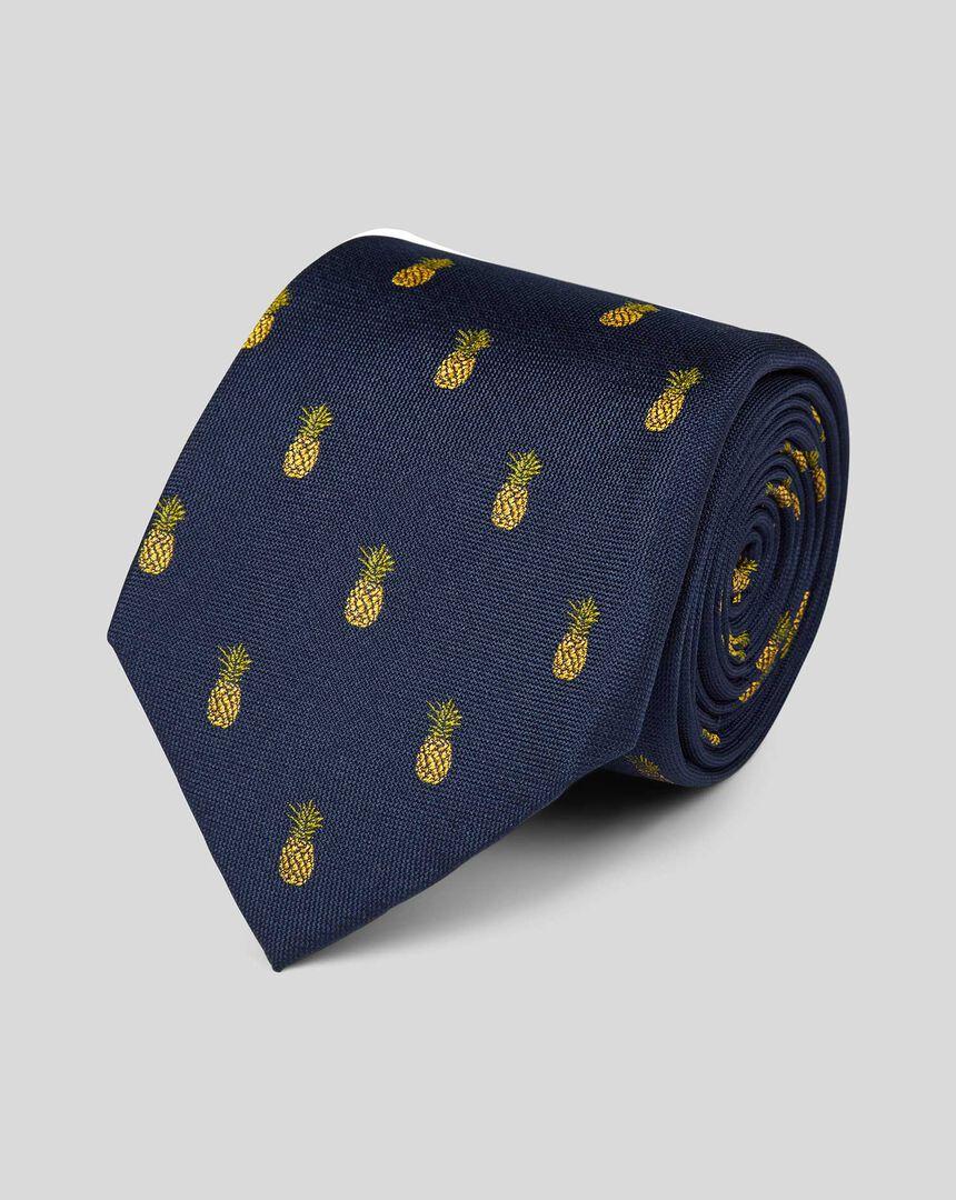 Pineapple Silk Motif Classic Tie - Navy & Gold
