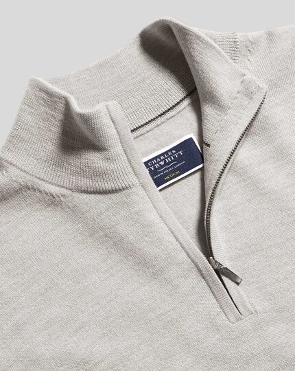Merino Zip Neck Sweater - Silver