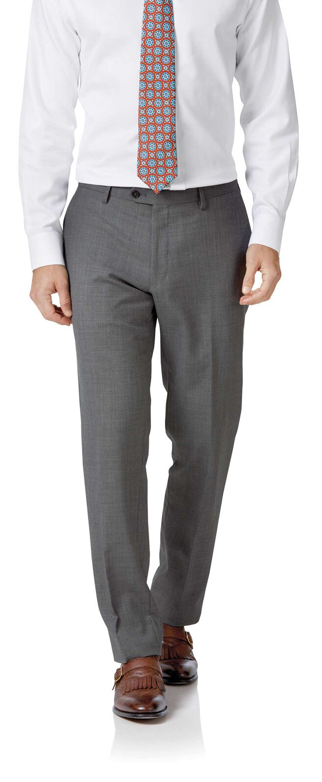 Light grey slim fit sharkskin travel suit